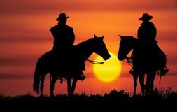cowboysilhouette Royaltyfri Fotografi
