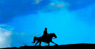cowboysilhouette royaltyfria bilder