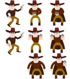 cowboysillustrationset Royaltyfria Bilder