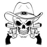 Cowboyskalle i en västra hatt och ett par av korsade vapen stock illustrationer