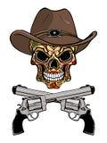 Cowboyskalle i en västra hatt och ett par av korsade vapen royaltyfri illustrationer