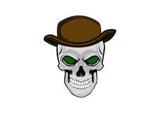 Cowboyskalle som bär en stilfull brun hatt royaltyfri illustrationer