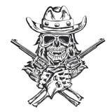 Cowboyskalleath hatten med två vapen på händerna Royaltyfria Bilder