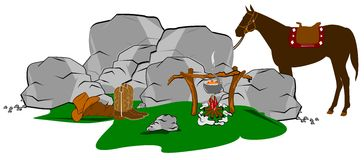 Cowboyskampeerterrein Stock Afbeelding