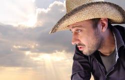 cowboysolnedgång Fotografering för Bildbyråer