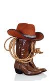 Cowboystiefel mit Hut und einem Lasso Stockbilder