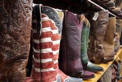 Cowboystiefel: Sternenbanner Flagge Lizenzfreies Stockfoto