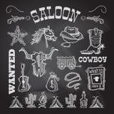 Cowboytafelsatz stock abbildung