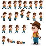 Cowboyteckenälvor för lekar Animeringcowboyen går, faller, hopp, forsar stock illustrationer