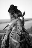 cowboytrycksprutahäst Royaltyfri Foto