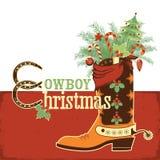 Cowboyweihnachtsstiefel Lizenzfreies Stockfoto