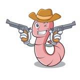 Cowboywurmcharakter-Karikaturart vektor abbildung