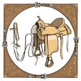 Cowboyzadel en teugel in het westelijke leerkader op witte achtergrond vector illustratie