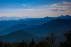 Cowee overlook of the blue ridge mountains before sunset Royalty Free Stock Images