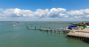 Cowes harbour jetty Isle of Wight with blue sky Stock Photos
