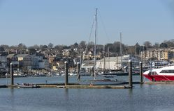 Empty boat moorings during winter. Cowes Isle of Wight, UK royalty free stock image