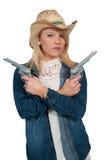 Cowgirl με το relvolver Στοκ φωτογραφία με δικαίωμα ελεύθερης χρήσης