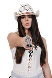 Cowgirl με το relvolver Στοκ Φωτογραφία