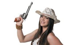 Cowgirl με το relvolver Στοκ Φωτογραφίες