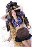 cowgirl χαλαρώνοντας στοκ φωτογραφία