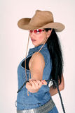 Cowgirl. A woman dressed up as a cowgirl, holding a lasso stock photos