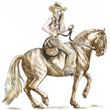 Cowgirl. A hand drawn illustration converted into vector of an beauty with long hair riding a horse Stock Image