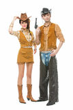 Κάουμποϋ και cowgirl με το πυροβόλο όπλο Στοκ Εικόνες