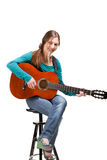 Cowgirl in ahat with acoustic guitar Stock Image