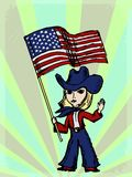 Cowgirl with American flag Stock Images