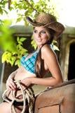 Cowgirl atractivo Imagenes de archivo