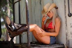 Cowgirl atractivo Foto de archivo libre de regalías
