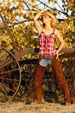 Cowgirl in Autumn Stock Images