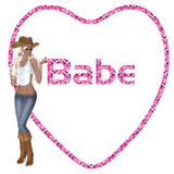 Cowgirl Babe Heart. A lovely pink diamond pattern heart stating BABE. A sexy cowgirl standing in front of heart Stock Images
