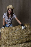 Cowgirl and bales Stock Image