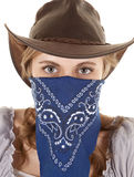 Cowgirl bandana looking Stock Image