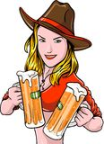 Cowgirl With Beer Stock Photo