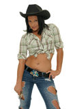 Cowgirl with black hat stock photos
