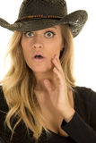 Cowgirl in black mouth open look Stock Images