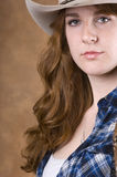 Cowgirl in blue Stock Image