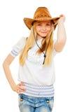 Cowgirl bonito en sombrero, la blusa blanca y pantalones vaqueros Fotos de archivo