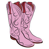 Cowgirl Boots Cartoon. An image of a pair of cowgirl boots Royalty Free Stock Image
