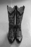 Cowgirl Boots. Sparkly cowgirl boots, ready to wear stock image