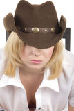 Cowgirl in brown hat close-up Stock Photography