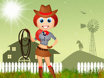 Cowgirl cartoon Stock Photography