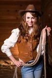 Cowgirl caucásico hermoso Imagen de archivo