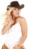 Cowgirl chaps shocked Royalty Free Stock Photography