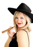 Cowgirl with cigar Royalty Free Stock Photo