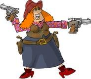 Cowgirl con 2 sei tiratori Fotografia Stock