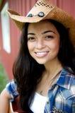 Cowgirl con il grande sorriso Fotografie Stock