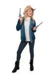 Cowgirl con relvolver Immagini Stock Libere da Diritti
